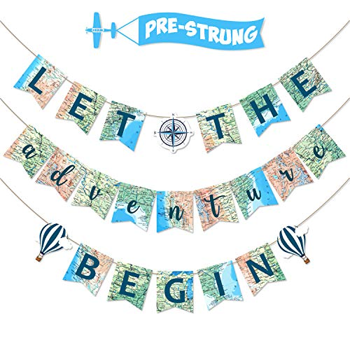 Let the Adventure Begin Banner Adventure Awaits Bon Voyage Map Banner for Travel Themed Birthday Baby Shower Graduation Retirement Job Career Change Farewell Party Decorations Supplies Pre Strung & Re