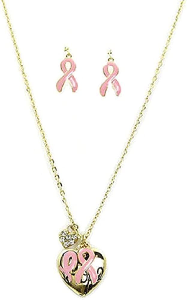 Rose's Gift Store~Fashion Jewelry Breast Cancer Awareness Necklace and Earring Set