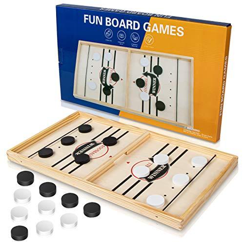 Tisch Hockey Spielzeug, Interaktive 2-in-1 Eltern-Kind Interaktion Katapult Brettspiel Tischhockey Holz Schnell Sling Puck Match-Spiel, Portable Schachbrett-Set, Partyspiele(55 * 30 * 2.5cm)