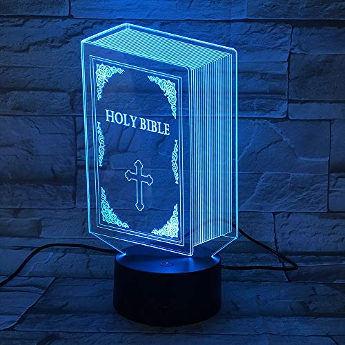 God Bless Religion Christian Holy Bible Libro Figura 3D Acrílico LED Luz de noche Dor
