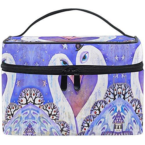 Motif Maquillage Sac Cygnes Amour Coeur Cosmétique Sac Trousse De Toilette Portable Zip Brosse Sac Organisateur De Stockage