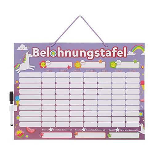 Supremery abwischbare Belohnungstafel magnetisch 43x30cm - Kinder Aufgaben Tafel - Magnettafel inkl. 250 Sternchen und Magnet Stift - Sterne Aufgabenplan