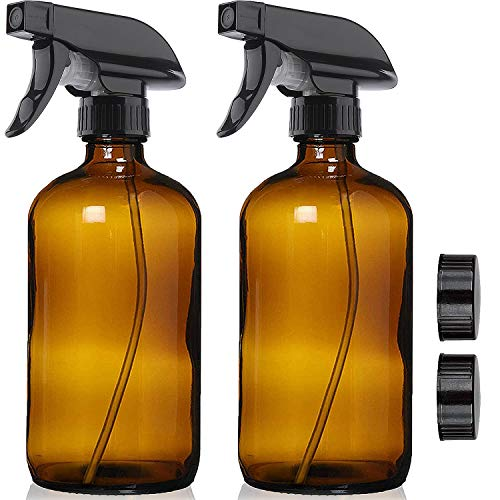 2 Pack Amber Glass Spray Bottles