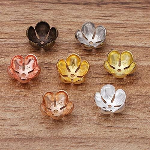 50 unids/lote 13x5 mm flor perlas tapa retro escultura hoja cuentas casquillo DIY joyería...
