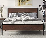 SHA CERLIN Heavy Duty Queen Size Platform Bed Frame with Wood Headboard, 12' Under Bed Storage, No Box Spring Needed, Noise Free, Sanders