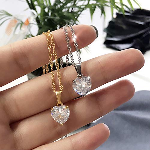 ghn Chain Necklaces Heart Necklaces For Women Stainless Steel Gold Chain Zircon Heart Pendant Necklace Lover Clavicle Choker Valentine Jewelry Gift Jewelry & Accessories