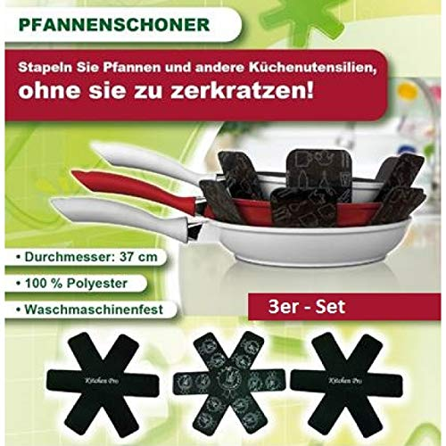 Venteo 3X Protege Pfannenschutz Pfannen Einlage Stapelschutz Kratzschutz Schoner