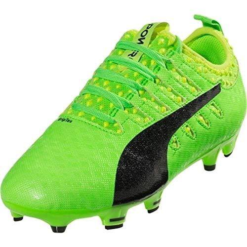 PUMA Kids' Evopower Vigor 1 Firm Ground Soccer Shoe, Green Gecko Black-Safety Yellow, 5.5 M US Big Kid