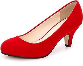eaaa2aae608 OCHENTA Women s Closed Round Toe Low Kitten Heel Slip On Dress Pump