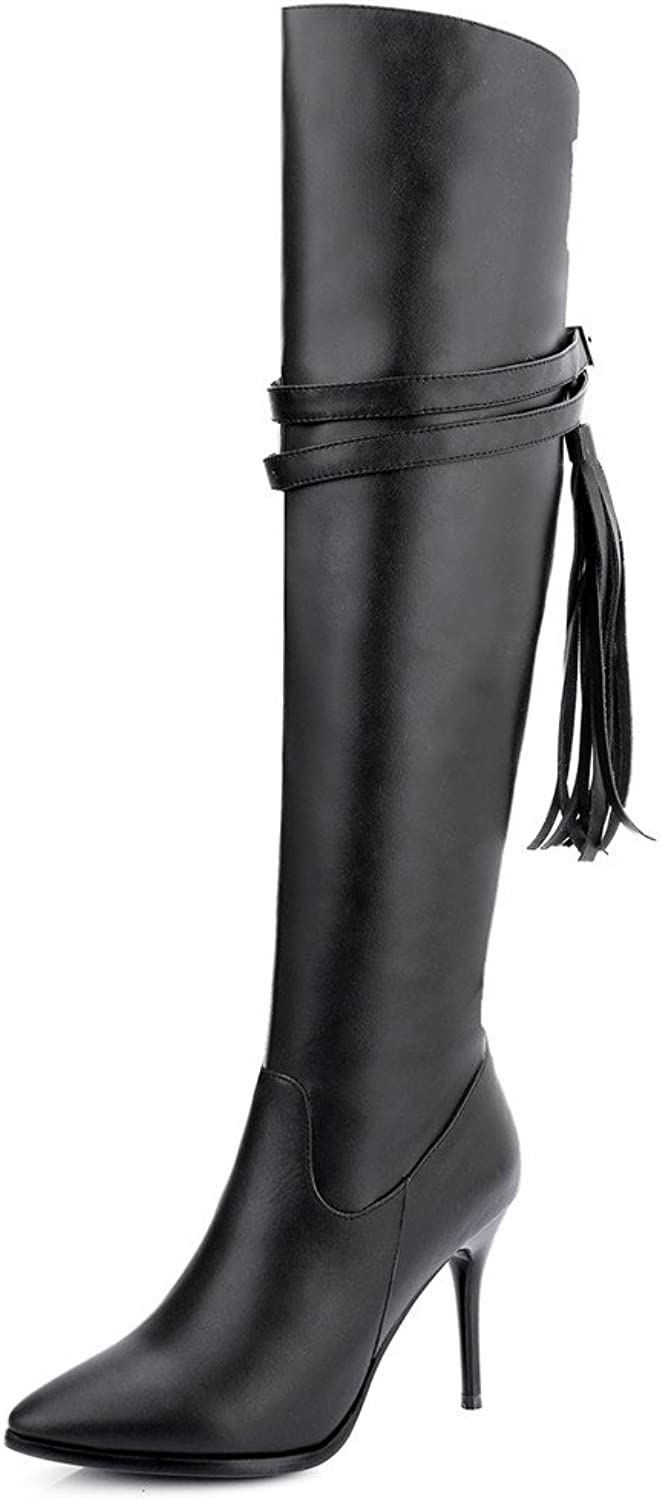 Nine Seven Cow Leather Women's Pointed Toe Stiletto Heel Tassels Sexy Handmade Over The Knee Boot