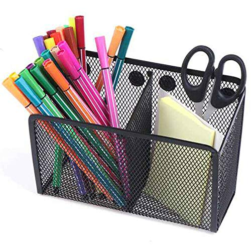 Magnetic Pencil Holder Organizer -2 Generous Compartments Magnetic Storage Basket Organizer - Strong Magnets-Mesh Pen Holder for Whiteboard, Locker Accessories