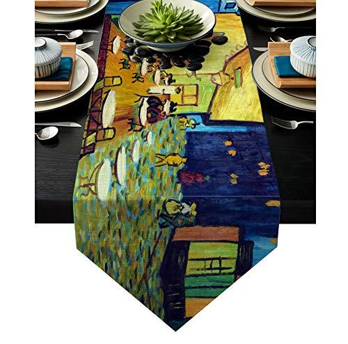 QMOL Street Art la Nuit Peinture chemins de Table Salle à Manger Buffet Cuisine Chemin de Table Ferme Rustique Mariage décor-36x183cm