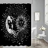 loyapobo Mandala Celestial Duschvorhang Sonne Mond Vintage Boho Stil Schwarz & Weiß Mysteriöse Muster für Badezimmer Dekorative Wasserdicht Stoff