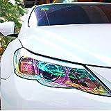 LZLRUN 12 by 48 inches Self Adhesive Auto Car Tint Chrome Chameleon Headlight Taillight Fog Light Vinyl Smoke Film Sheet Sticker Cover (Chameleon Transparent)