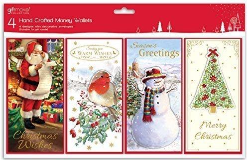 4 x Hand Gefertigt Traditionell Weihnachten Geld Geschenkkarte Gutscheine Geldbörse & Umschläge