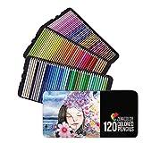 120 Lápices de Colores (Numerados) con Caja de Metal - Estuche de Lapices de Dibujo...
