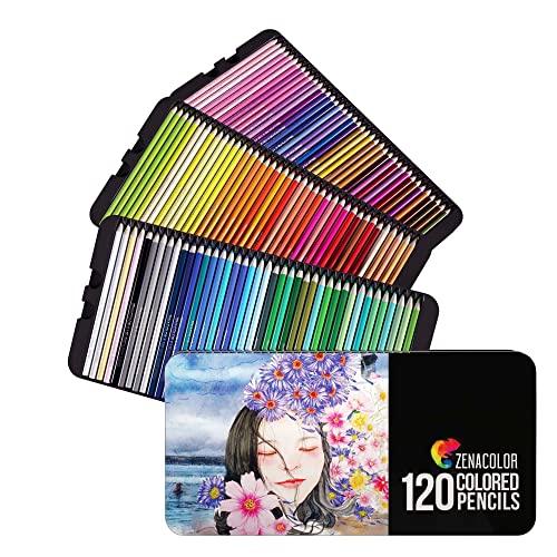 120 Zenacolor Buntstifte (Nummeriert) - Einfach aufzubewahren - Professionelles Buntstifte Set für Erwachsene - Holzstifte Ideal für Malbücher für Erwachsene, Skizzenbücher