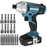 Impact Driver, WESCO 20V Max Cordless Impact Driver with 20Pcs Kit, 2.0Ah Lithium-ion Battery and Charger, 1/4' All-metal Hex Chuck, 0-2400RPM Variable Speed /WS2939U
