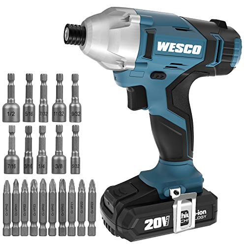 """Power Impact Driver Kit 20V, WESCO Cordless Impact Drill Set with 2.0Ah Li-ion Battery and 60-Min Fast Charger, 20Pcs Accessories, 1/4"""" All-metal Hex Chuck, 0-3000RPM Variable Speed, LED light"""