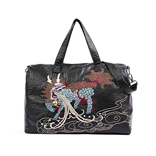 MUBAY Crossbody Bags Shoulder Bag for Women Women's bag,PU leather large-capacity soft leather portable embroidery retro national wind female Messenger bag travel bag
