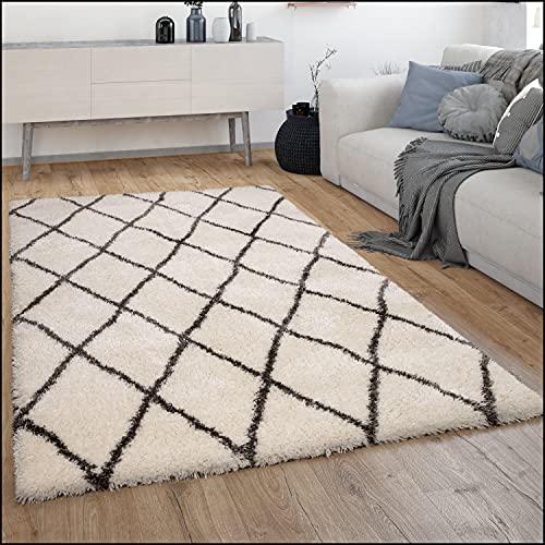 Tapis Shaggy Tapis De Salon Shaggy Poil Long Motif Diamant Scandinave Moderne, Dimension:160x230 cm, Couleur:Crème 2