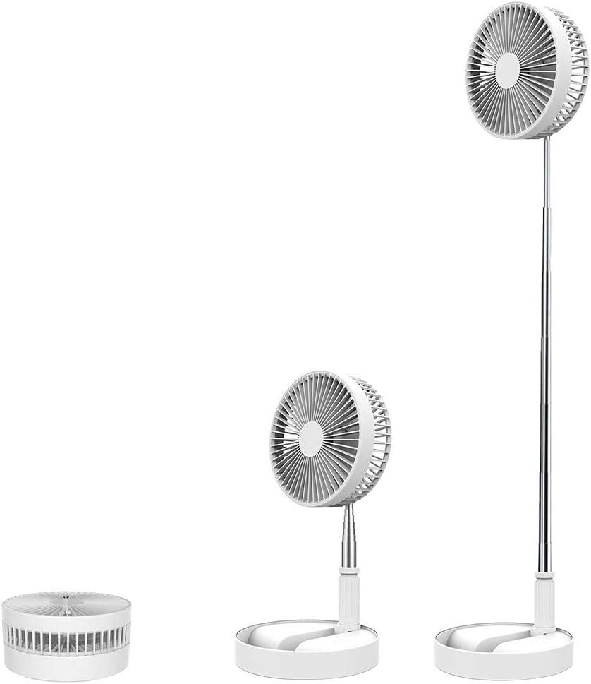 LEAMER Ventilador de pie, plegable y portátil, batería recargable de 7200 mAh, mini ventilador USB para el hogar, al aire libre y la oficina, altura ajustable y cabeza