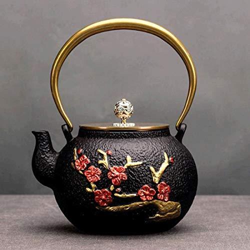 Tea Pot, Cast Iron Handmade Tea Infuser, Small Japanese Retro Rustproof Tea Maker for Party Office Home, 1200ml
