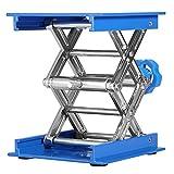 Piattaforma elevatrice da laboratorio, 100 x 100mm Blu in alluminio Resistente Supporto da laboratorio Stand di sollevamento Piattaforma regolabile Altezza 45-158mm Sollevatore a forbice