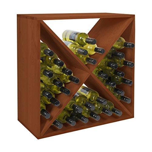 Weinregal/Flaschenregal System X-60, für 44 Fl, Holz Kiefer braun gebeizt, stapelbar/erweiterbar - H 60 x B 60 x T 30 cm