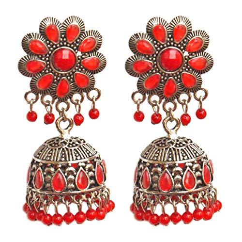 Pahal - Pendientes tradicionales de plata antigua con perlas rojas Kundan Jhumka indias para fiestas