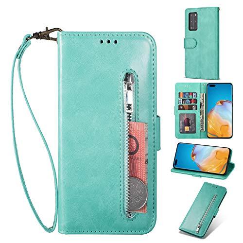 ZTOFERA Huawei P40 Pro Hülle, Magnetisch Folio Flip Wallet Leder Standfunktion Reißverschluss schutzhülle mit Trageschlaufe, Brieftasche Hülle für Huawei P40 Pro - Minzgrün