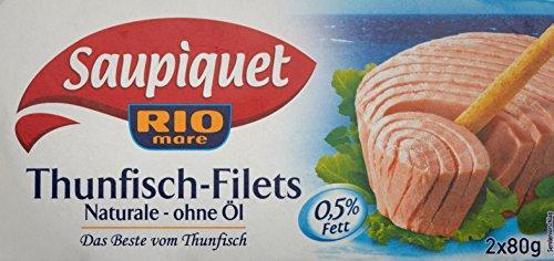 Saupiquet Rio Mare Thunfisch-Filets Naturale - ohne Öl, Thunfisch-Filets im eigenen Saft, Reich an Proteinen, Perfekt geeignet für Salate, Wraps oder Pasta, 2x80g
