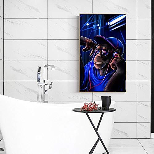 Canvas schilderij aap met koptelefoon luistert naar muziek op koptelefoon prints en posters aan de muur woonkamer foto 50x90cm frameloos