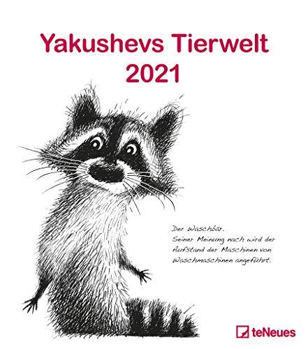 Yakushevs Tierwelt 2021 - Wand-Kalender - Tier-Kalender - 30x34 - Illustrationen