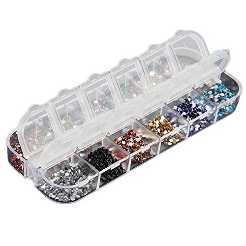 Haobase, strass per la nail art, adatti allo smalto UV gel acrilico, 12colori, 3000 pezzi, 2mm