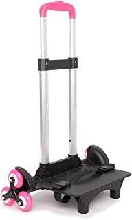 PROTAURI Foldable Trolley Cart for School Bags - Wheeled Hand Truck for Kids,Student's Luggage Travel Hand Cart with Buckles(6 wheels)
