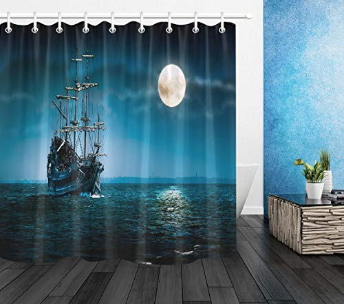NNAYD1996 Flying Dutchman Barco Pirata Moon Ocean Impresión Digital a Prueba de Agua y Moho