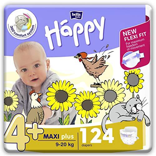 Bella Happy Couches pour bébé, 4+ (9-20 kg),124 couches