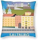BONRI Stad Gebouw Poster Salzburg Oostenrijk Reiskaart