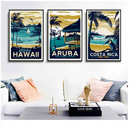 Retro Schilderij Aruba Zeegezicht Hawaii Schilderij Canvas Prints Wall Art Craft Poster Nordic over Paard Decoratie voor Bar Cafe-50x70x3Pcscm Geen Frame