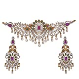 TARINIKA Antique Gold Choker Set with Peacock Design for Both Women and Girl (White Red Green)