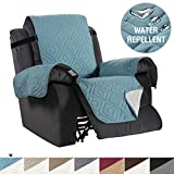 Recliner Cover Reversible Sofa Slipcover Furniture Protector Water Resistant 2 Inch Wide Elastic Straps Recliner Chair Cover Pets Kids Fit Sitting Width Up to 22' (Recliner, Stone Blue/Beige)