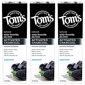 WHAT YOU'LL GET: Three 4.7-ounce tubes of Tom's of Maine Activated Charcoal Toothpaste in Peppermint Flavor WHITENING TOOTHPASTE: Designed to gently remove surface stains and restore teeth to their natural color NATURAL CAVITY PROTECTION: Fluoride he...