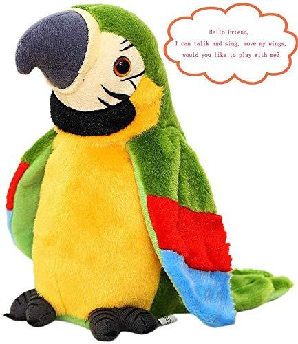 FakeFace Lustiges Sprechender Papagei Nachsprechendes Plüschtier Wiederholenfunktion Kuscheltiere mit den Flügeln winken, Plüschvogel, Talking Plüsch Spielzeug für Kinder,GRÜN