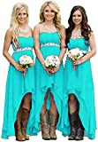 Fanciest Women' Strapless High Low Bridesmaid Dresses Wedding Party Gowns Turquoise US8