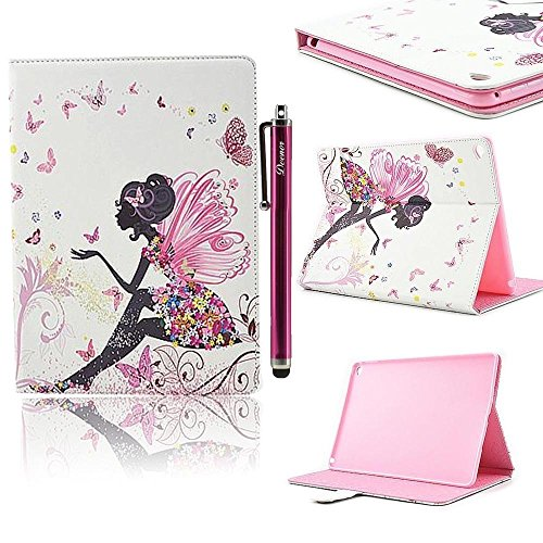 Custodia per iPad 2 iPad 3 iPad 4, Deenor Big butterfly girl Design Custodia PU Pelle Cover Stand Custodia Cover per Apple iPad 2 iPad 3 iPad 4 .(Big butterfly girl)