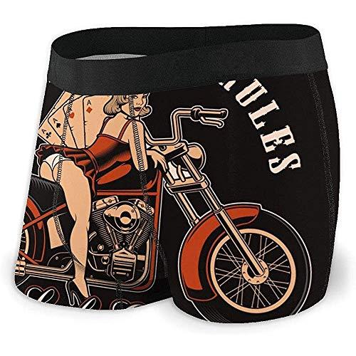 Calzoncillos Boxer para Hombre Vintage Pin Up Girl con Motocicleta y Naipes sobre Fondo Oscuro Calzoncillos Braguitas XL