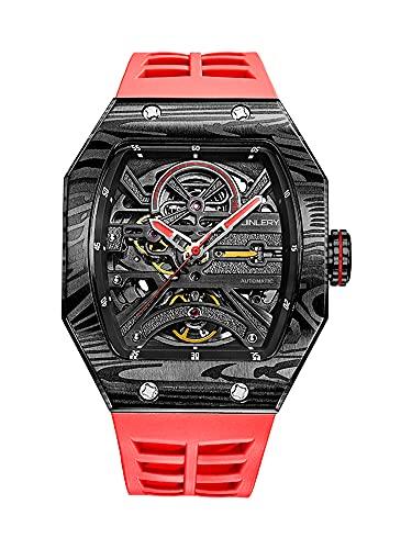 JINLERY - Reloj de pulsera para hombre, mecanismo automático de esqueleto, mecanismo octagonal cuadrado, acero inoxidable, resistente al agua, lujoso, casual
