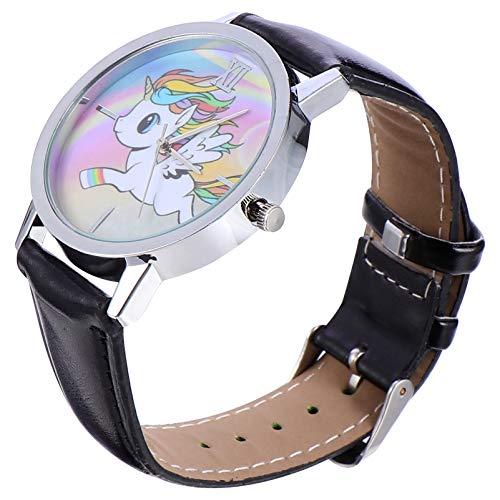 Hemobllo 5Pcs Frauen Armbanduhr Einhorn Regenbogen Quarz Uhr Pegasus Analoguhr Sportuhr Arbeit Uhr Lehrer Uhr für Frauen Mädchen Neujahrsgeschenk (Schwarz)