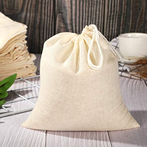 Pangda 100 Pieces Drawstring Cotton Bags Muslin Bags (7.9 x 7 Inches)